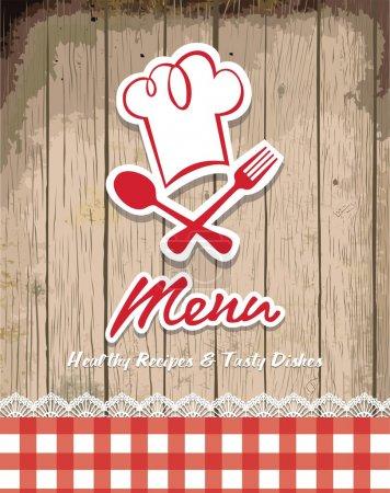 Illustration of vintage retro frame with restaurant menu design