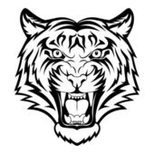 Tiger anger Black tattoo Vector illustration of a tiger head
