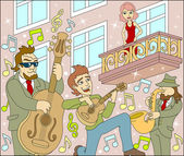 Jazz concert under the window of his girlfriend Romantic act Serenade of the Jazz band Vector illustration
