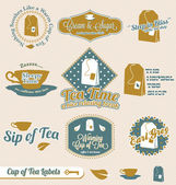 Collection of vintage tea time labels and stickers