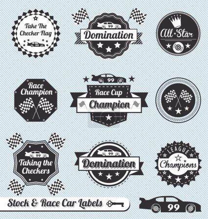 Vector Set: Race Car Champion Labels and Badges