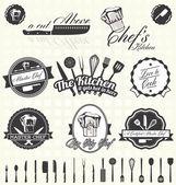 Vektor festgelegt: Retro-Meisterkoch Bezeichnungen und Symbole
