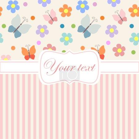 用鲜花和条纹粉色卡邀请