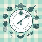 Uhr und verschiedene Gerichte