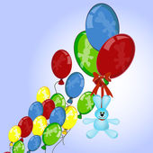 Blue bunny flying on colorful balloons