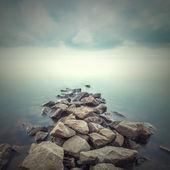 Minimalist misty landscape. Ukraine.