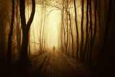 Man walking on a road in a dark creepy forest with fog