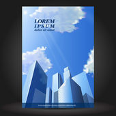 Vector business brochure template design with skyscrapers EPS 10