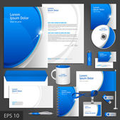 Blue corporate identity template with round elements Vector company style for brandbook and guideline