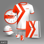 Promotional souvenirs design for company with red arrows Elements of stationery