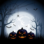 Halloween night background with pumpkins illustration