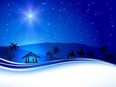 Vánoční scéna na pozadí oblohy