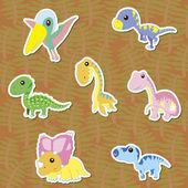 Seven cute color dinosaur stickers vector