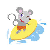 A cute mouse rides on a surfboard