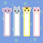 Four animal bookmarks for children colorful