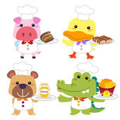 Cute cartoon animal cook collection with white background