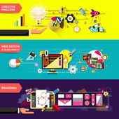 Set of flat design concepts for creative process web design and development and branding used for web banners and printed materials