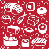 Sushi set red white fish food