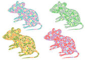 Colorful stylized mouse with flowers vector