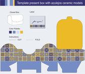 Vektorové šablona pro krabičce s modrými azulejos Keramický model