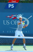 Professional tennis player Novak Djokovic practices for US Open 2013 at Billie Jean King National Tennis Center