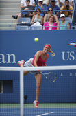 Two times Grand Slam champion Victoria Azarenka serving during quarterfinal match against Ana Ivanovich at US Open 2013