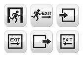 Danger Emergency exit log out grey square buttons set isolated on white
