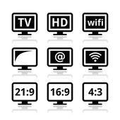 HD tv wireless web televistion icons set isolated on white