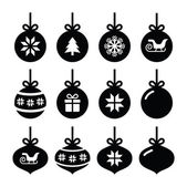 Winter holiday icons set of christmas tree balls isolated on white