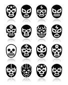 Lucha libre mexické zápas masky ikony