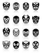 Lucha libre luchador mexické zápas černé masky ikony