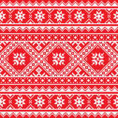 Ethnic seamless white Ukrainian print on red background