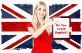 Young woman holding tablet pc. english learning concept