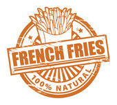 Grunge rubber stamp with the text french fries written inside
