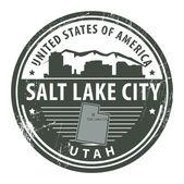 Grunge rubber stamp with name of Utah Salt Lake City