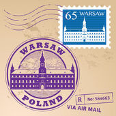 Stamp set with words Warsaw Poland inside