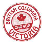 Grunge rubber stamp with name of Canada British Columbia and Victoria written inside the stamp