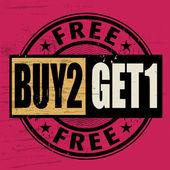 Briefmarke mit dem Text kaufen 2 Get 1 free geschrieben innerhalb