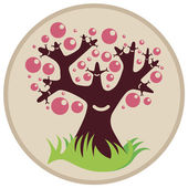 Smiling tree with pink bubbles
