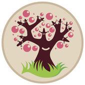 Lächelnd Baum mit rosa Blasen
