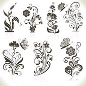 Floral flower vector design elements isolated on aged color background Set 22