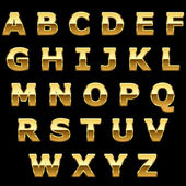 Golden metallic shiny letters isolated on black background