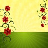 Abstract summer horizon background with red flowers vector illustration