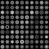 Set of vector snowflakes isolated on black background 100 snowflake shapes