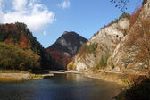 Autumn landscape with The Dunajec River Gorge in Pieniny Mountains