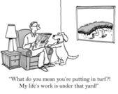 Cartoon-Illustration. ein Mann liest eine Zeitung in einem Raum mit einem Hund