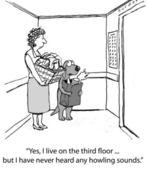 Cartoon-Illustration. Hund mit einer Frau im Fahrstuhl fahren