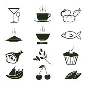 Vector set of 12 food icons