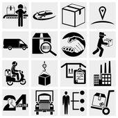 Podnikání, dodavatelského řetězce, lodní, nakupování a průmyslu vektorové ikony nastavit