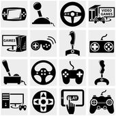 Video game icons set isolated on grey backgroundEPS file available